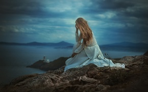 Picture girl, landscape, stone, dress, TJ Drysdale