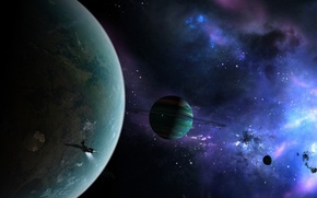 Picture space, nebula, planet, ship, ring, regulus36