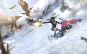 Picture girl, snow, birds, lara croft, the eagles, tomb raider, snowmobile, tibet