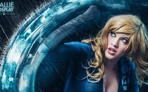Picture blue, power, blonde, Invisible Woman, callie cosplay