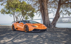 Picture wheels, lamborghini, sea, bridge, tuning, power, orange, face, italy, LB724, huracan