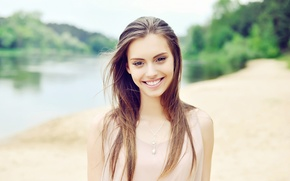Picture girl, face, smile, background, model, hair, beauty
