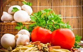 Picture greens, basket, mushrooms, tomatoes, mushrooms