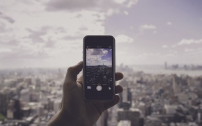 Picture Manhattan, panorama, OWTC, New York, hand, One World Trade Center, United States, photo, iPhone, the ...