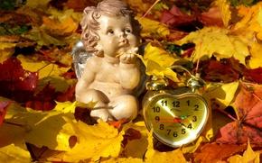 Picture autumn, leaves, watch, angel, alarm clock, figure
