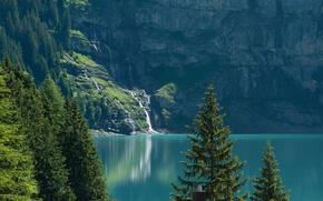 Wallpaper trees, lake, Switzerland, ate, Switzerland, Bernese Alps, The Bernese Alps, lake Asinense, Oeschinen Lake, The ...