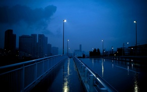 Picture lights, Twilight, wet road