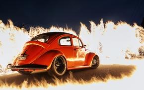 Picture fire, flame, Volkswagen, orange, Beetle