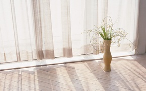 Picture floor, curtains, vase
