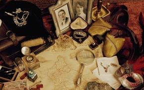 Picture decoration, retro, map, shoes, photos, magnifier, vintage, Vintage