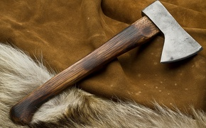 Picture axe, metal, wood, painted, treated wood