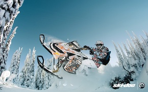 Picture forest, snow, jump, sport, 154, sport, snow, snowmobile, freeride, snowmobile, ski-doo, brp, skidoo