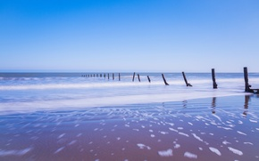 Picture sand, sea, the sky, foam, blue, shore, England, support, UK
