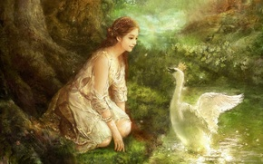 Wallpaper flowers, flowers, oil, art, Princess, art, swan, princess, forest, fantasy, picture, canvas, forest, Hyung Jun ...