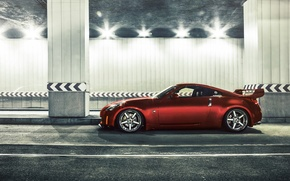 Picture car, auto, red, the tunnel, Nissan, tuning, nissan 350z