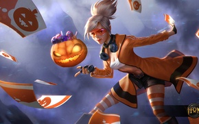 Picture Heroes of Newerth, blonde, card, pumpkin, Trick-or-Treat, girl, Tarot, glasses
