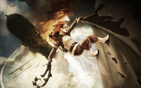 Picture girl, the plane, fire, art, the airship, belt, battle, in the sky