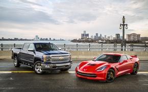Picture background, Corvette, Chevrolet, panorama, Chevrolet, supercar, pickup, Coupe, the front, and, Stingray, Corvette, Stingray, Silverado, …