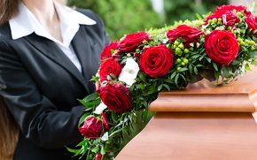 Picture flowers, death, coffin