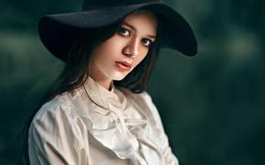 Picture look, girl, sweetheart, model, portrait, hat, brunette, blouse, light, beautiful, the beauty, cute, inspiration, bokeh, …