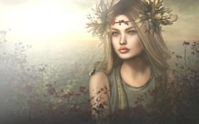 Wallpaper leaves, autumn, girl, wreath