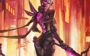 Picture girl, fiction, figure, sword, art, girl, sword, armor, cyborg, cyberpunk, the exoskeleton, exoskeleton, megapolis, armor, …