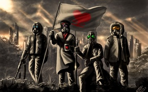 Picture flag, heart, mug, penguin, alexiuss, gas mask, art, romance of the Apocalypse, romantically apocalyptic, ruins, ...