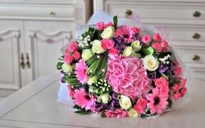 Picture roses, bouquet, hydrangea, gerbera