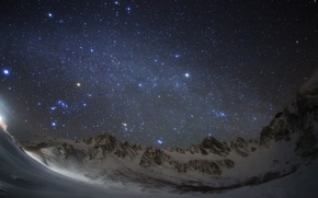 Picture space, stars, mountains, night, space