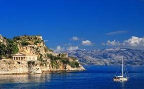 Picture sea, shore, yacht, Corfu