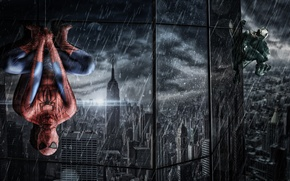 Picture reflection, rain, the building, Windows, web, costume, the shower, hanging, spider-man, Spider-Man, Venom