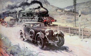 Picture road, auto, retro, the engine, beginning, smoke., The twentieth century