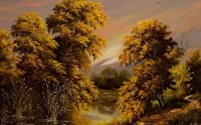 Picture autumn, the sky, water, trees, landscape, birds, river, Wallpaper, foliage, picture, painting, Khodukov