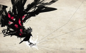 Picture abstraction, background, the inscription, bird, Wallpaper, wings, silhouette, art