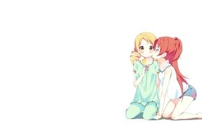 Picture girl, love, surprise, kiss, anime, ice cream, loli, Yuri, embarrassment, hyouka