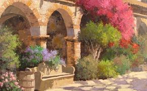 Picture trees, flowers, bench, Park, art, shop, shop, arch