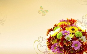 Picture flowers, bouquet, painted patterns, colorful daisies