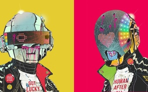 Picture color, zombies, Daft Punk, hats, Daft Punk