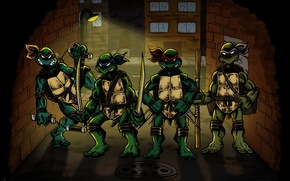 Picture street, wall, Rafael, TMNT, Raphael, Leonardo, Luke, Donatello, Donatello, Leonardo, Michelangelo, Teenage Mutant Ninja Turtles, …