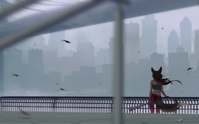 Picture bridge, the city, the wind, silhouette, girl, Art, Katrin, bit, kitsune, sity, Kate-FoX