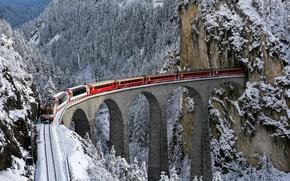 Wallpaper winter, bridge, view, train, Bernina express