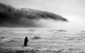 Picture wave, beach, trees, fog, fisherman, hill, male, the troubled sea