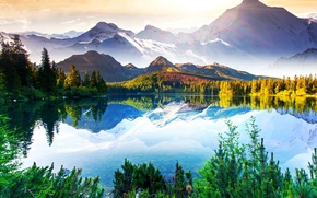 Picture the sky, clouds, trees, mountains, lake