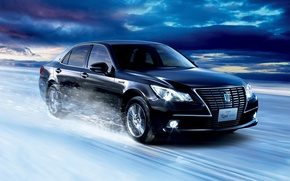 Picture snow, black, speed, Toyota, Crown