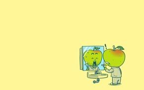 Picture people, Apple, sink, mirror, horror, pajamas, razor, cut