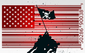 Picture vector, flag, soldiers, USA, PIRATE NATION, Jolly Roger