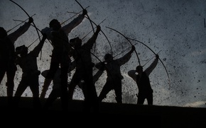 Picture England, silhouette, art, spot, arrows, warriors, the middle ages, archers, Luke