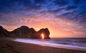 Picture sea, beach, the sun, rocks, arch