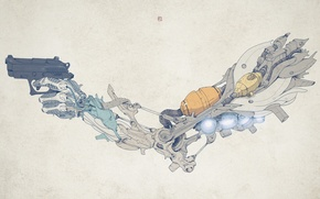 Picture style, gun, weapons, hand, pistol, details, weapon, style, 1920x1200, hand, details, biomechanics, biomechanics