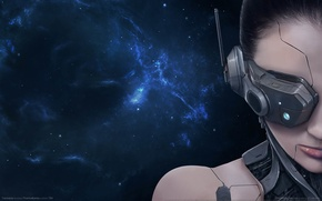 Picture girl, space, nebula, fiction, headphones, game wallpapers, Transverse
